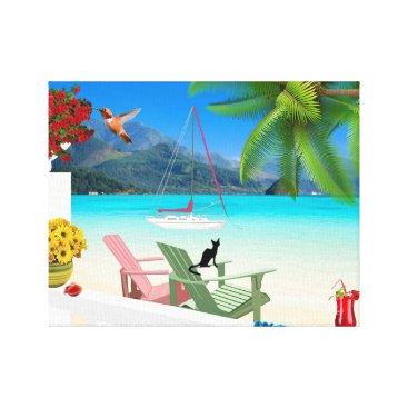 Beach Themed Tropical Beach Scene Wrapped Canvas