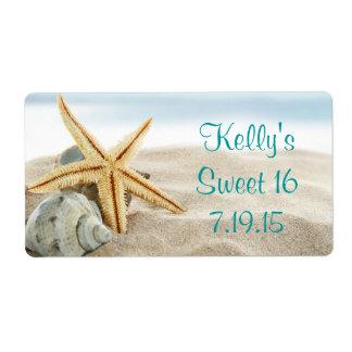 Tropical Beach Sea Shell Sweet 16 Favor Label