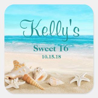 Tropical Beach Sea Shell Sweet 16 Favor Labels
