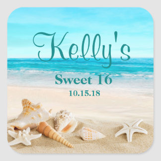 Tropical Beach Sea Shell Sweet 16 Favor Labels
