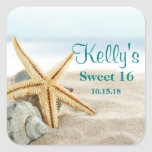Tropical Beach Sea Shell Sweet 16 Favor Labels Square Sticker