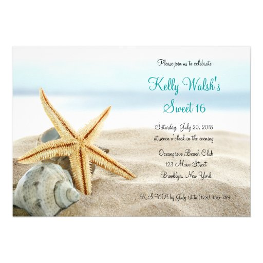 Tropical Beach Sea Shell Sweet Sixteen Invitation.