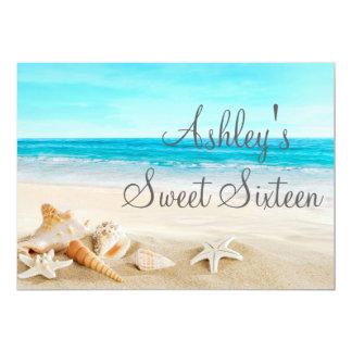 Tropical Beach Sea Shell Sweet Sixteen Invitation. 5x7 Paper Invitation Card