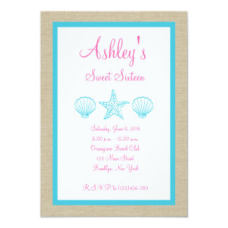 Tropical Beach Sea Shell Sweet Sixteen Invitation. Card