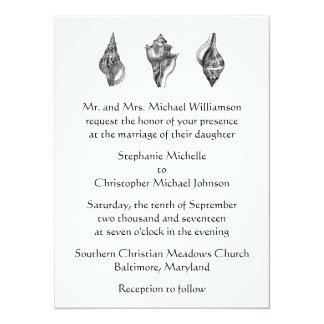 Tropical Beach Sea Shells Black White Wedding Card