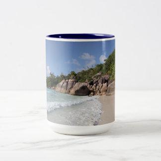 Tropical Beach, Seychelles, Indian Ocean Two-Tone Coffee Mug