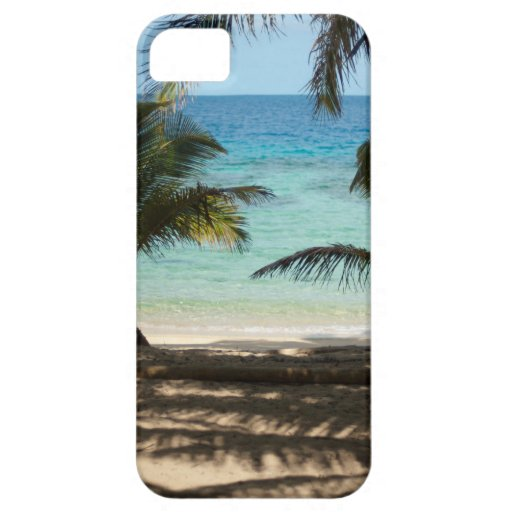 Tropical beach shaded by palms iPhone 5 cases