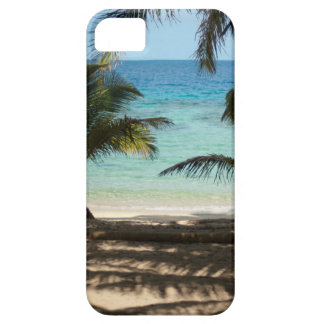Tropical beach shaded by palms iPhone 5 cover