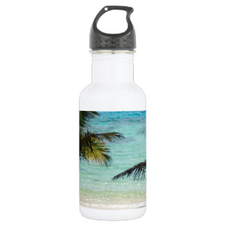 Tropical beach shaded by palms 18oz water bottle