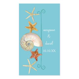 Tropical Beach Shells Starfish Nautilus Summer Business Card Template