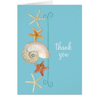 Tropical Beach Shells Starfish Nautilus Summer Card