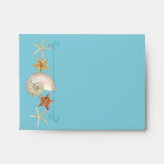 Tropical Beach Shells Starfish Nautilus Summer Envelope