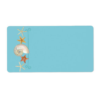 Tropical Beach Shells Starfish Nautilus Summer Label