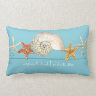 Tropical Beach Shells Starfish Nautilus Summer Lumbar Pillow