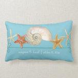 Tropical Beach Shells Starfish Nautilus Summer Pillows