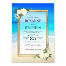 Tropical Beach Shore Floral Wedding Invitation