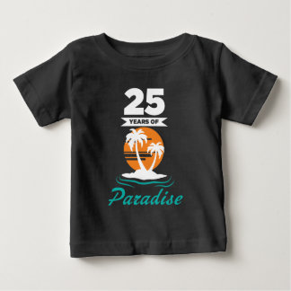 Tropical Beach Silver 25th Wedding Anniversary Baby T-Shirt