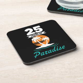 Tropical Beach Silver 25th Wedding Anniversary Beverage Coaster