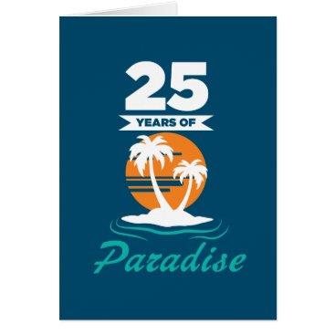 Beach Themed Tropical Beach Silver 25th Wedding Anniversary Card
