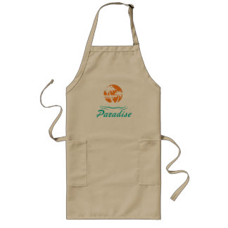 Tropical Beach Silver 25th Wedding Anniversary Long Apron