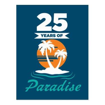Beach Themed Tropical Beach Silver 25th Wedding Anniversary Postcard