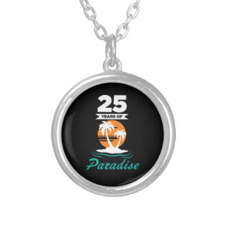Tropical Beach Silver 25th Wedding Anniversary Silver Plated Necklace