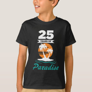 Tropical Beach Silver 25th Wedding Anniversary T-Shirt