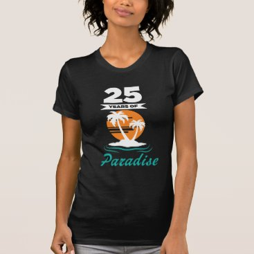 Beach Themed Tropical Beach Silver 25th Wedding Anniversary T-Shirt