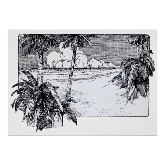 Tropical Beach South Wind Vintage Art Poster