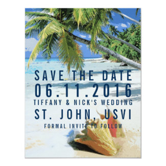 Tropical Beach St. John, USVI Save the Dates Card