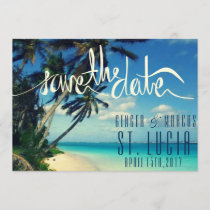 Tropical Beach St. Lucia Wedding Save the Date