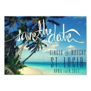 Tropical Beach St. Lucia Wedding Save the Date 5x7 Paper Invitation Card