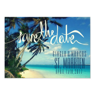 Tropical Beach St. Maarten Wedding Save the Date Card