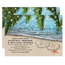 Tropical Beach Starfish Heart Shore Wedding