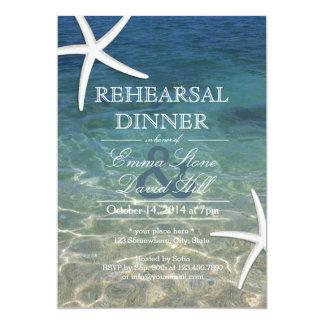 Tropical Beach Starfish Rehearsal Dinner 5x7 Paper Invitation Card