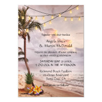 Tropical Beach String Lights Wedding Invitation