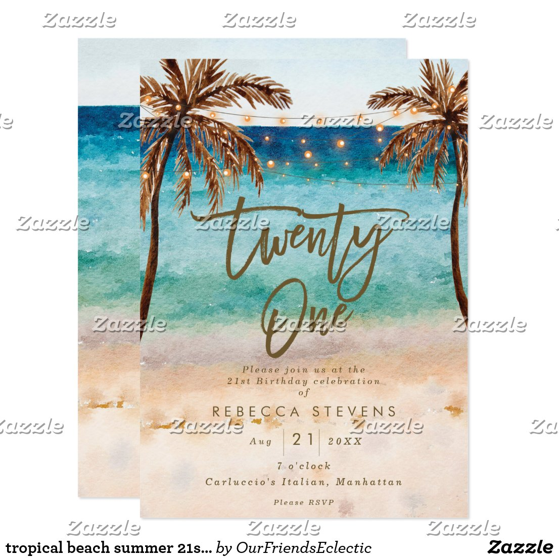 tropical beach summer 21st birthday party invitation