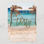 """tropical beach summer 30th birthday party invitation<br><div class=""""desc"""">A lovely tropical beach themed 30th birthday invitation with palm trees and string lights and matching reverse side. Easy to edit or delete the available text fields to personalize the information with your own details for a professional and custom finish. Matching items are available in this boho collection. Please visit...</div>"""
