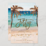 """tropical beach summer 40th birthday party invitation<br><div class=""""desc"""">A lovely tropical beach themed 40th birthday invitation with palm trees and string lights and matching reverse side. Easy to edit or delete the available text fields to personalize the information with your own details for a professional and custom finish. Matching items are available in this boho collection. Please visit...</div>"""
