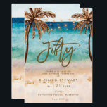 "tropical beach summer 50th birthday party invitation<br><div class=""desc"">A lovely tropical beach themed 50th birthday invitation with palm trees and string lights and matching reverse side. Easy to edit or delete the available text fields to personalize the information with your own details for a professional and custom finish. Matching items are available in this boho collection. Please visit...</div>"
