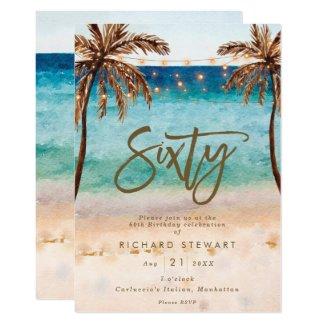 tropical beach summer 60th birthday party invitation
