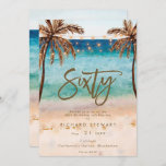 """tropical beach summer 60th birthday party invitation<br><div class=""""desc"""">A lovely tropical beach themed 60th birthday invitation with palm trees and string lights and matching reverse side. Easy to edit or delete the available text fields to personalize the information with your own details for a professional and custom finish. Matching items are available in this boho collection. Please visit...</div>"""