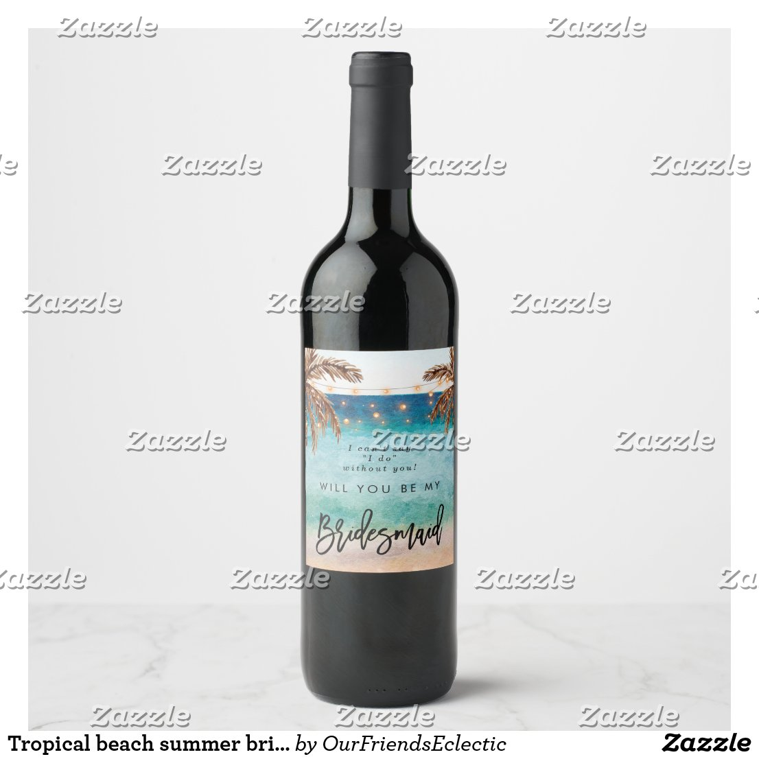 Tropical beach summer bridal proposal bottle wine label