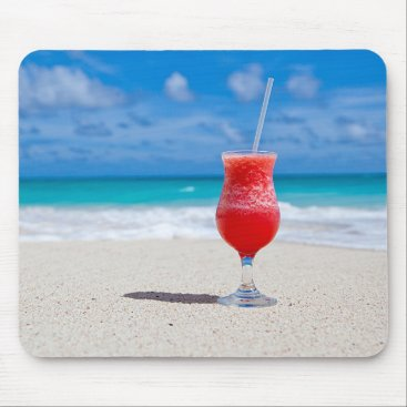 Beach Themed Tropical Beach Summer Red Strawberry Margarita Mouse Pad