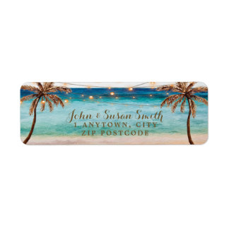 tropical beach summer return address labels