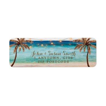 tropical beach summer return address labels