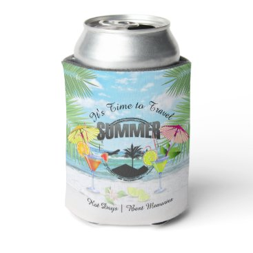 Beach Themed Tropical Beach, Summer Vacation | Personalized Can Cooler