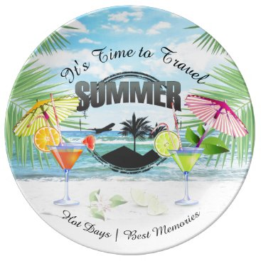 Beach Themed Tropical Beach, Summer Vacation | Personalized Dinner Plate