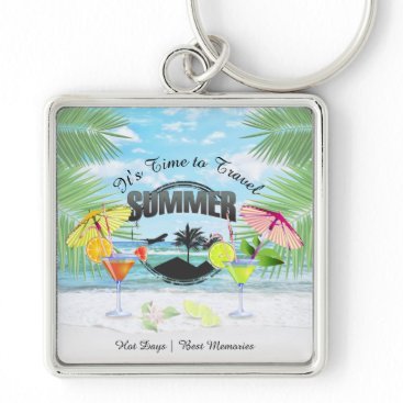 Beach Themed Tropical Beach, Summer Vacation | Personalized Keychain