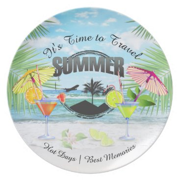 Beach Themed Tropical Beach, Summer Vacation | Personalized Melamine Plate